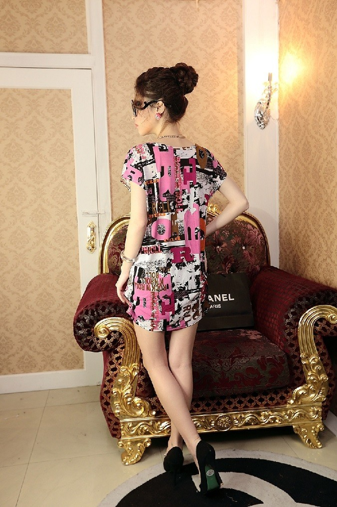 Women's Casual O-Neck Print Above Dress 56Q290100