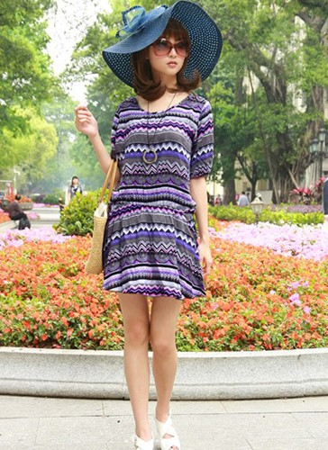 Women's Casual Purple O-Neck Sleeve Bodycon Dress 19282114